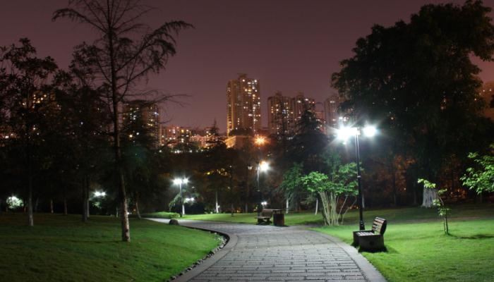 七度照明小区步道照明夜景效果图