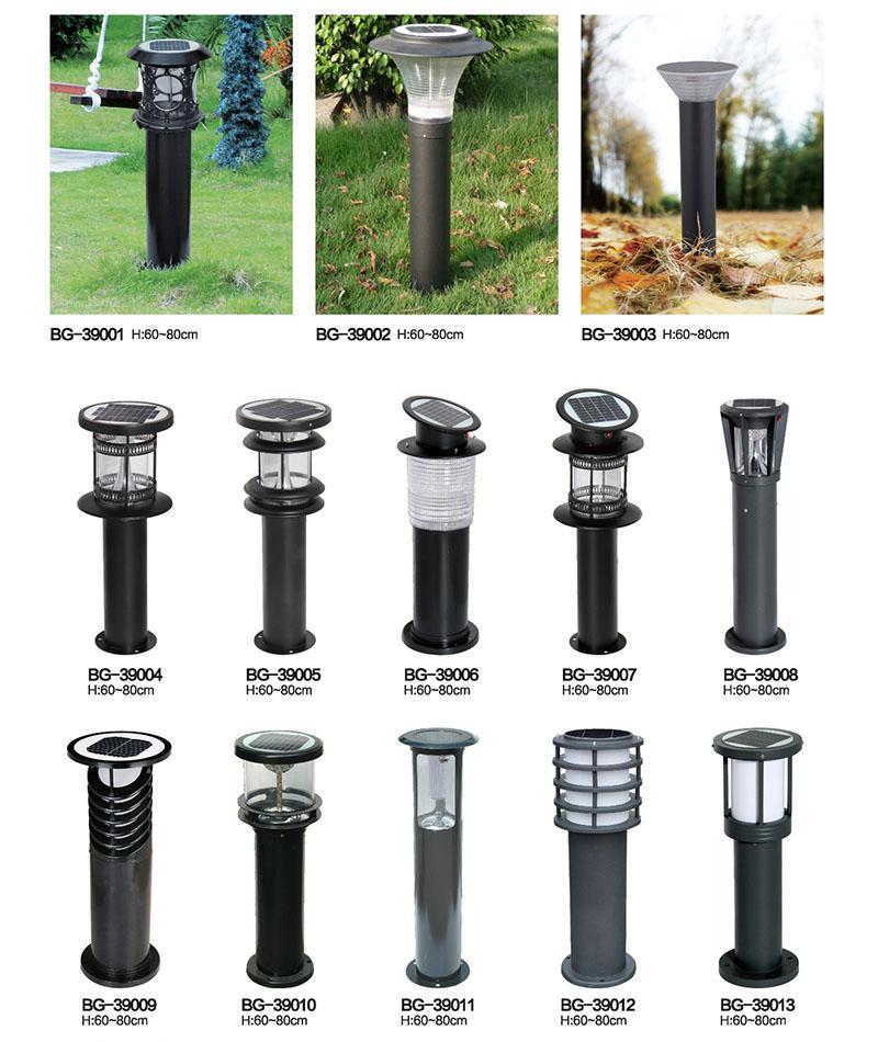 黑色圆柱形LED太阳能草坪灯QDTYNCP-BG390