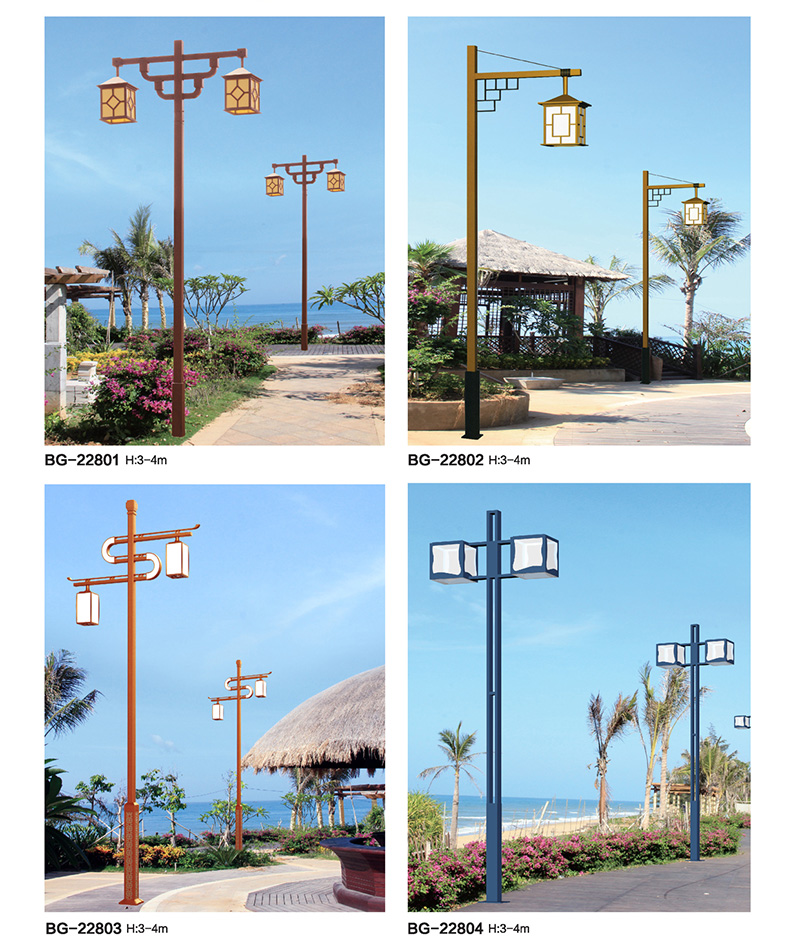 公园仿古方柱木纹LED庭院灯QDTYD-BG228