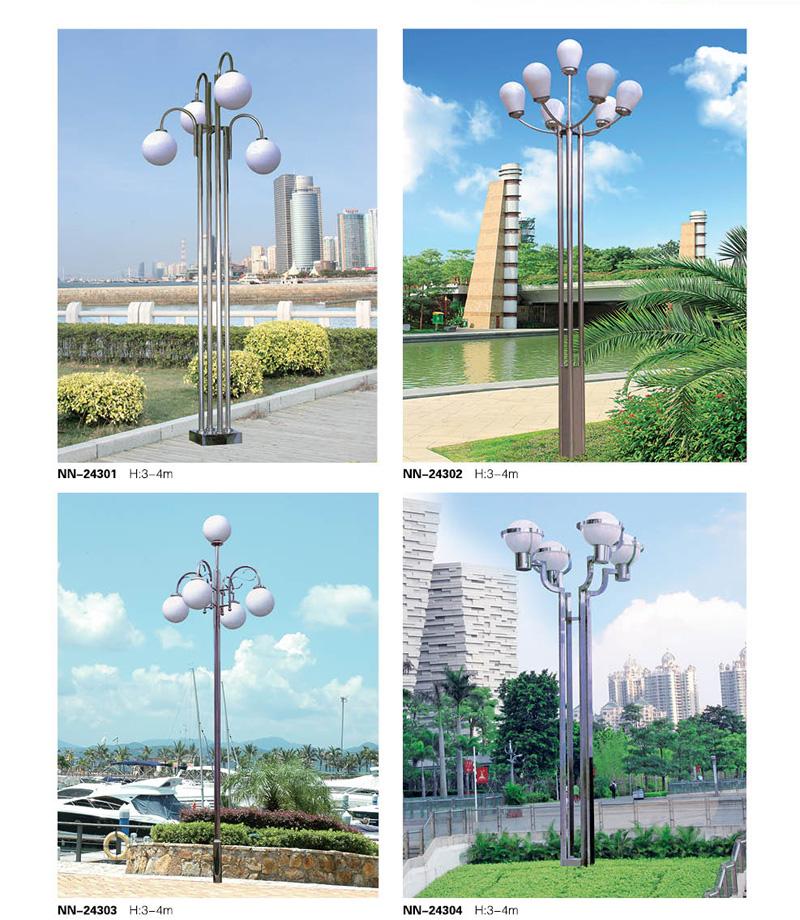 3米-4米多头多杆不锈钢景观庭院灯